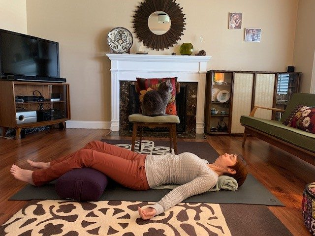 Lindsey Kolb demonstrates her yoga technique